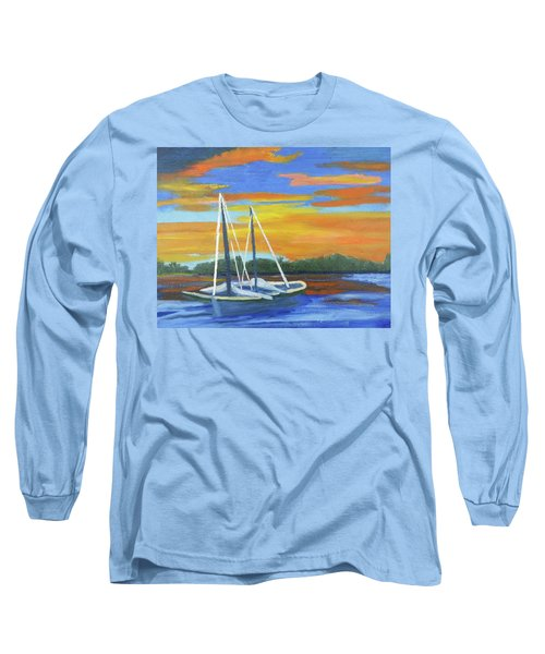 Boat Adrift Long Sleeve T-Shirt by Margaret Harmon