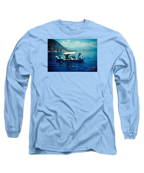 Boat And Sapfir Sea Seascape Artmif Long Sleeve T-Shirt