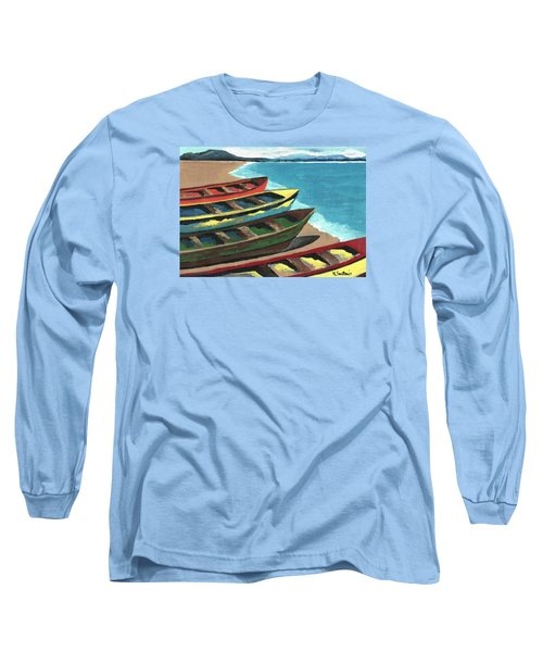 Long Sleeve T-Shirt featuring the painting Boats In A Row by Kathleen Sartoris