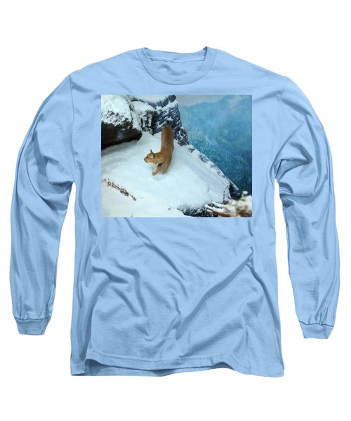 Long Sleeve T-Shirt featuring the digital art Bobcat On A Mountain Ledge by Chris Flees