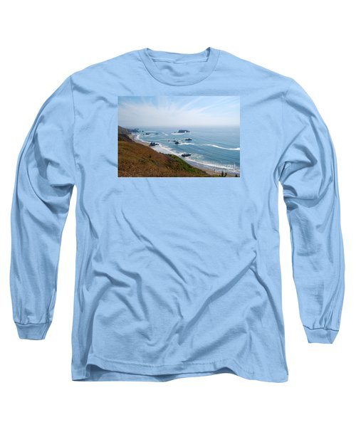 Bodega Bay Arched Rock Long Sleeve T-Shirt by Debra Thompson