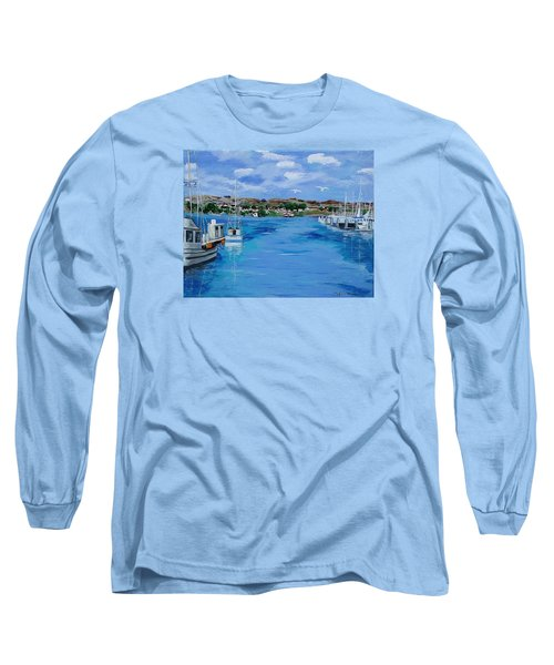 Bodega Bay From Spud Point Marina Long Sleeve T-Shirt by Mike Caitham