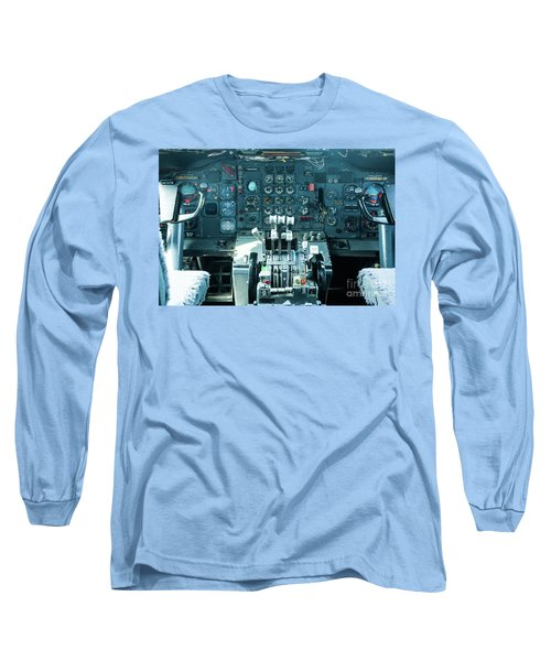 Long Sleeve T-Shirt featuring the photograph Boeing 747 Cockpit 23 by Micah May
