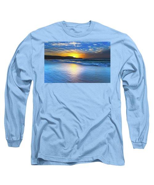 Bold And Blue Sunrise Seascape Long Sleeve T-Shirt