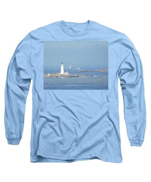 Boston Harbor Lighthouses Long Sleeve T-Shirt by Catherine Gagne