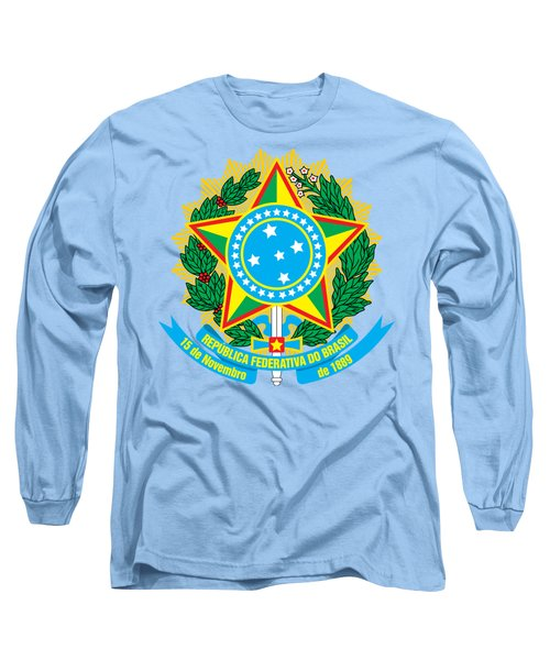 Long Sleeve T-Shirt featuring the drawing Brazil Coat Of Arms by Movie Poster Prints