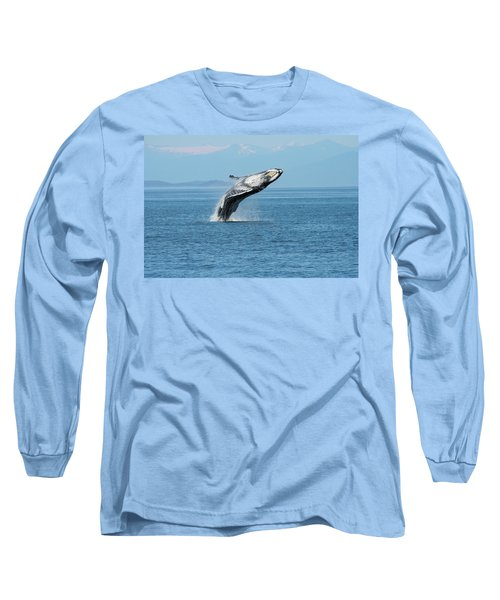 Breaching Humpback Whales Happy-3 Long Sleeve T-Shirt