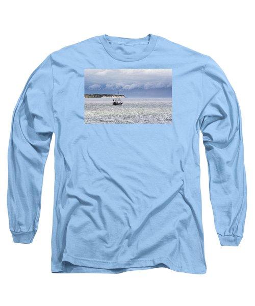 Bridlington Pirate Ship Long Sleeve T-Shirt by David  Hollingworth