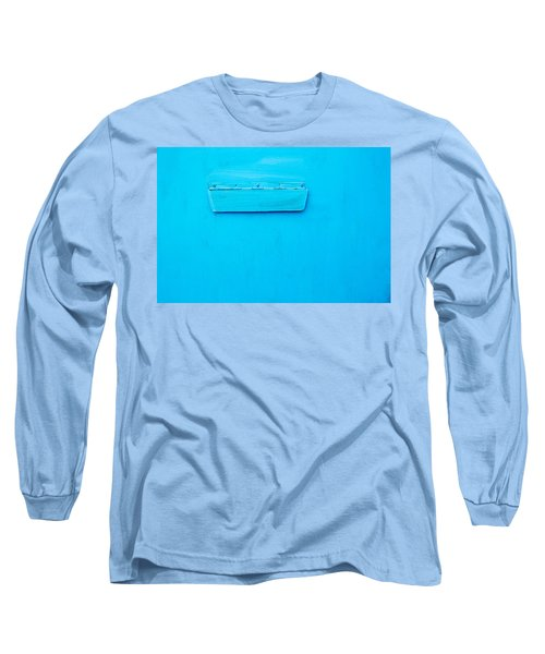 Long Sleeve T-Shirt featuring the photograph Bright Blue Paint On Metal With Postbox by John Williams