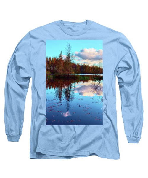 Bright Colors Of Autumn Reflected In The Still Waters Of A Beautiful Forest Lake Long Sleeve T-Shirt
