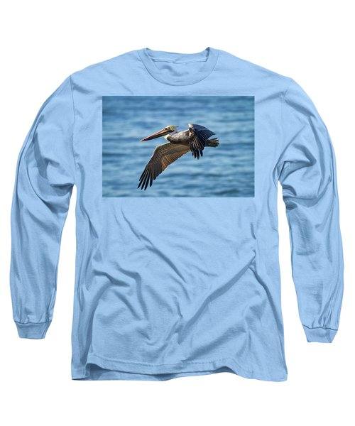 Brown Pelican In Flight Long Sleeve T-Shirt