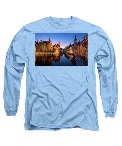Bruges Canals At Blue Hour Long Sleeve T-Shirt