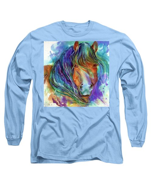 Bucky The Mustang In Watercolor Long Sleeve T-Shirt