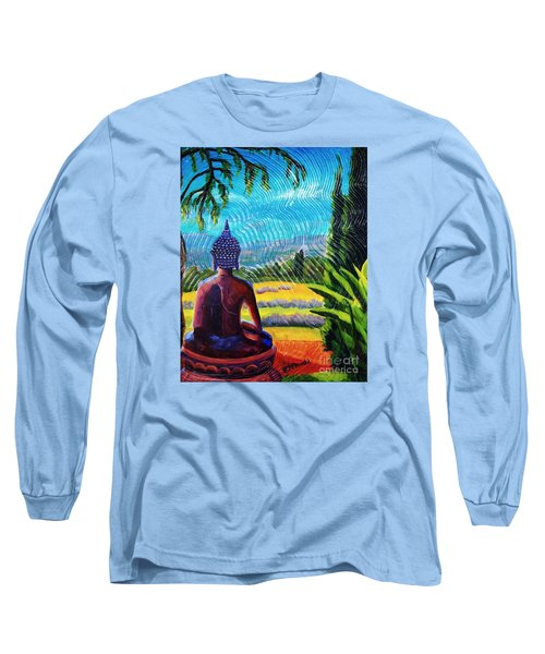 Buddha Atop The Lavender Farm Long Sleeve T-Shirt by Janet McDonald