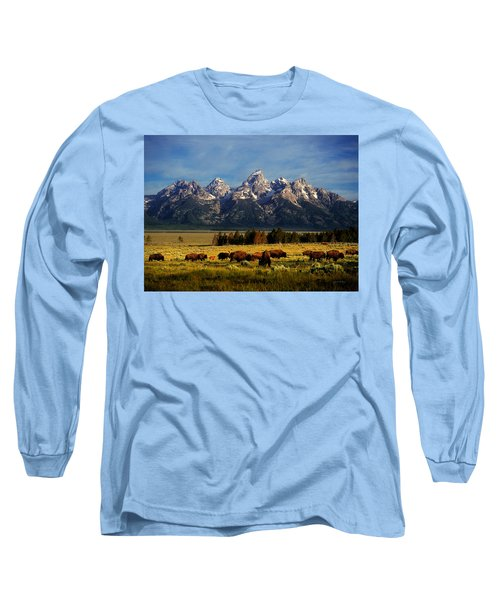 Buffalo Under Tetons Long Sleeve T-Shirt by Leland D Howard
