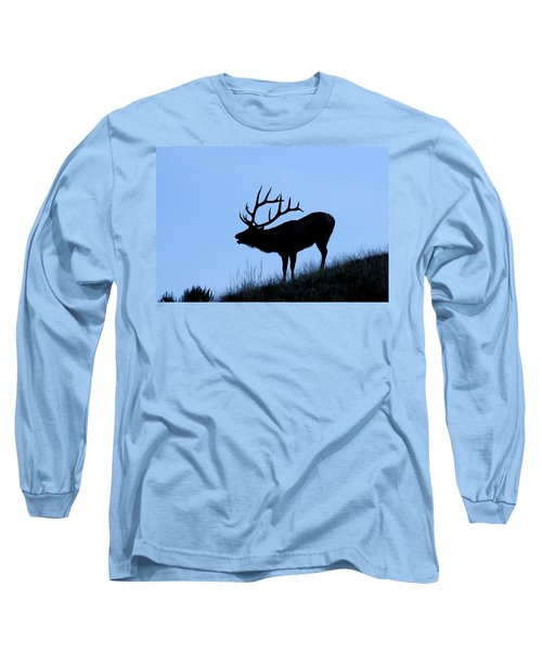 Bull Elk Silhouette Long Sleeve T-Shirt