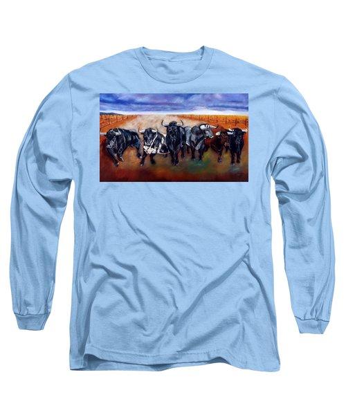 Bull Stampede Long Sleeve T-Shirt by Manuel Sanchez
