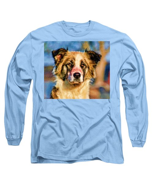 Buster Dog Viewing The Sunset Long Sleeve T-Shirt by Lucky Chen