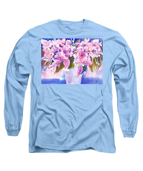 Pink Butterfly Flowers Long Sleeve T-Shirt