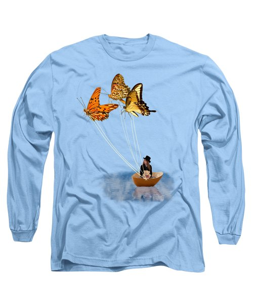 Butterfly Sailing Long Sleeve T-Shirt by Linda Lees