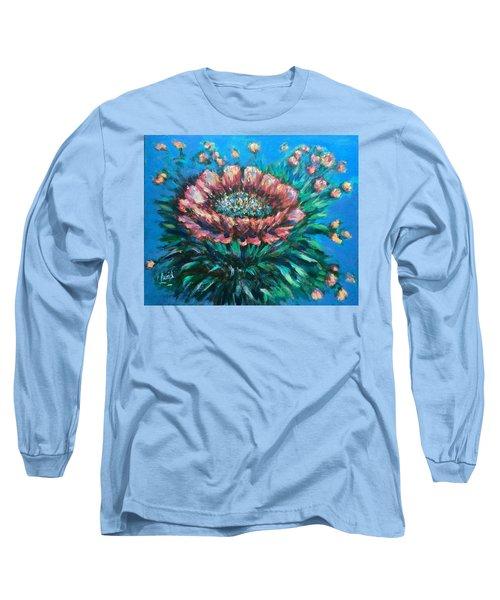 Cactus Flowers Long Sleeve T-Shirt by Laila Awad Jamaleldin