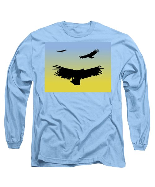 California Condors In Flight Silhouette At Sunrise Long Sleeve T-Shirt