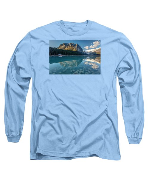 Calm Lake Louise Reflection Long Sleeve T-Shirt by Pierre Leclerc Photography