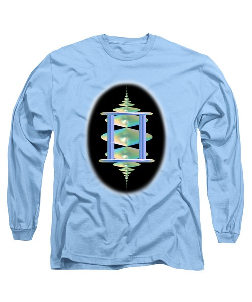 Cameo Abstract In Aqua Long Sleeve T-Shirt by Linda Phelps