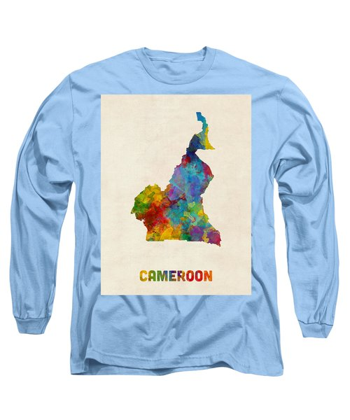 Long Sleeve T-Shirt featuring the digital art Cameroon Watercolor Map by Michael Tompsett