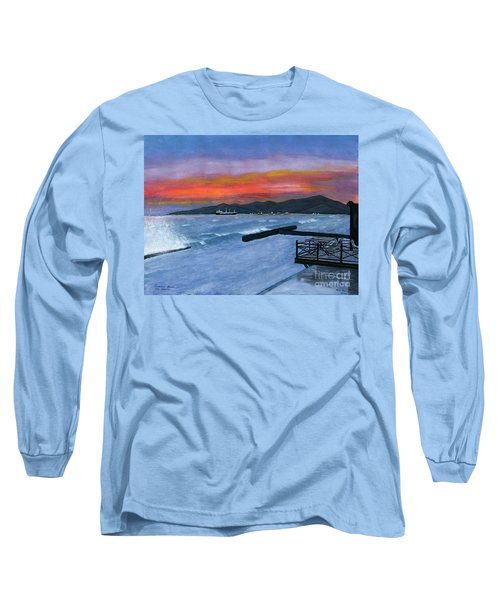 Long Sleeve T-Shirt featuring the painting Candidasa Sunset Bali Indonesia by Melly Terpening