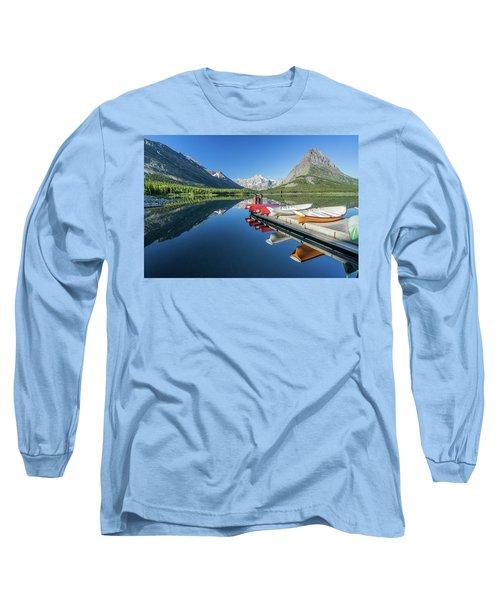 Canoe Reflections Long Sleeve T-Shirt by Alpha Wanderlust