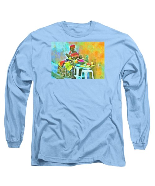 Caribbean Scenes - De Fruit Lady Long Sleeve T-Shirt by Wayne Pascall