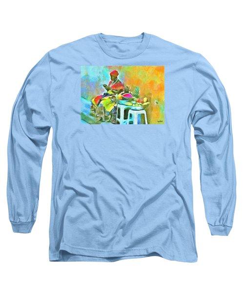 Caribbean Scenes - De Fruit Lady Long Sleeve T-Shirt