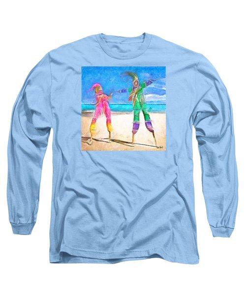 Caribbean Scenes - Moko Jumbie Long Sleeve T-Shirt by Wayne Pascall