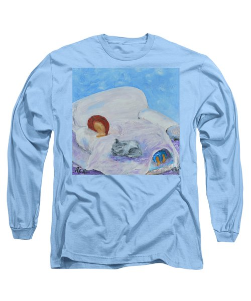 Cat Nap  Long Sleeve T-Shirt by Reina Resto