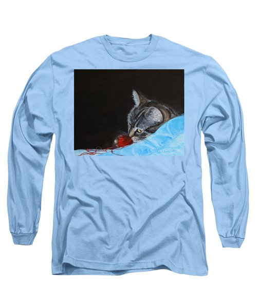Cat With Red Yarn Long Sleeve T-Shirt
