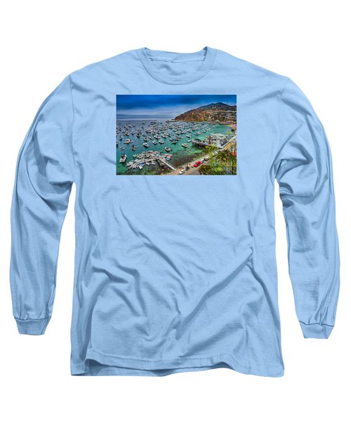Catalina Island  Avalon Harbor Long Sleeve T-Shirt by David Zanzinger