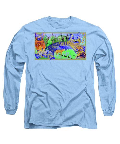 Cats And A Fiddle Long Sleeve T-Shirt by Sandy McIntire
