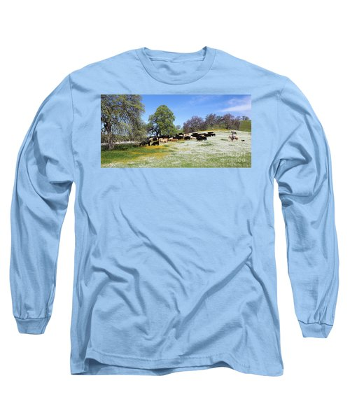 Cattle N Flowers Long Sleeve T-Shirt by Diane Bohna