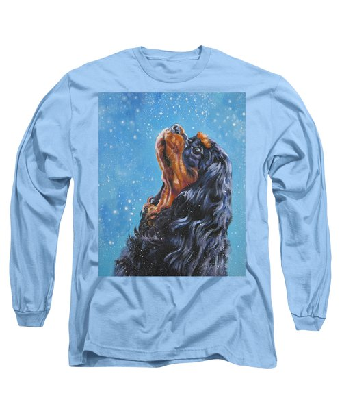Cavalier King Charles Spaniel Black And Tan In Snow Long Sleeve T-Shirt