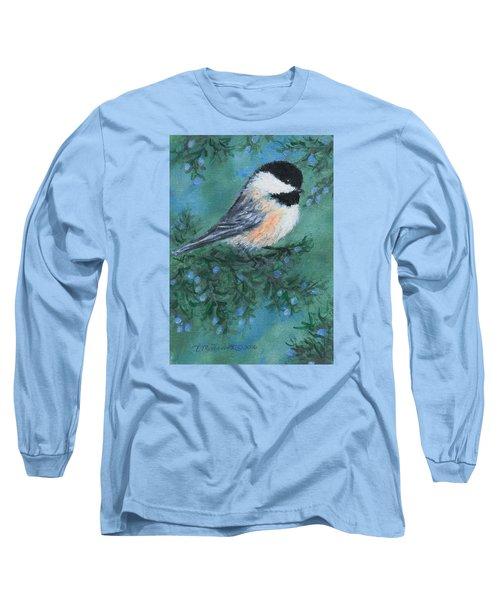 Cedar Chickadee 1 Long Sleeve T-Shirt by Kathleen McDermott