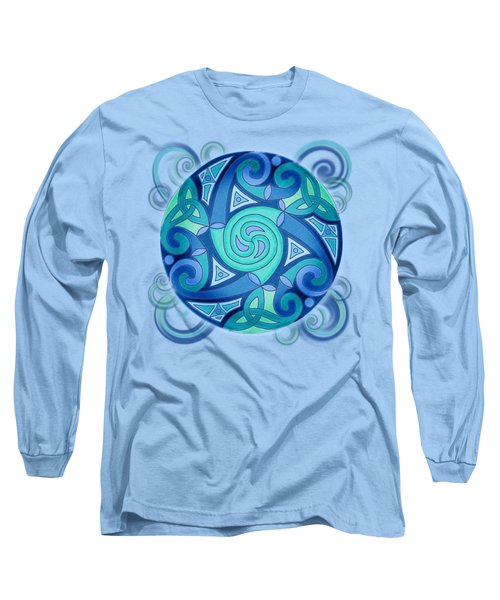 Long Sleeve T-Shirt featuring the mixed media Celtic Planet by Kristen Fox