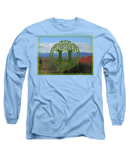Celtic Wedding Tree In Green Long Sleeve T-Shirt