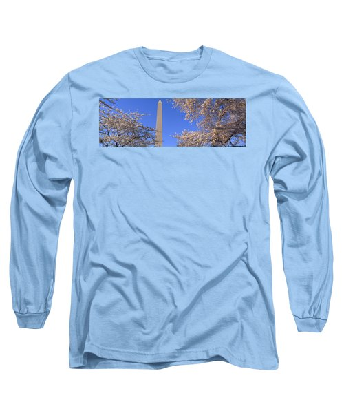 Cherry Blossoms And Washington Long Sleeve T-Shirt by Panoramic Images