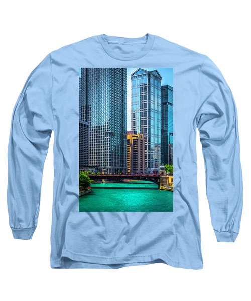 Chicago River From Michigan Ave Dsc2107 Long Sleeve T-Shirt by Raymond Kunst