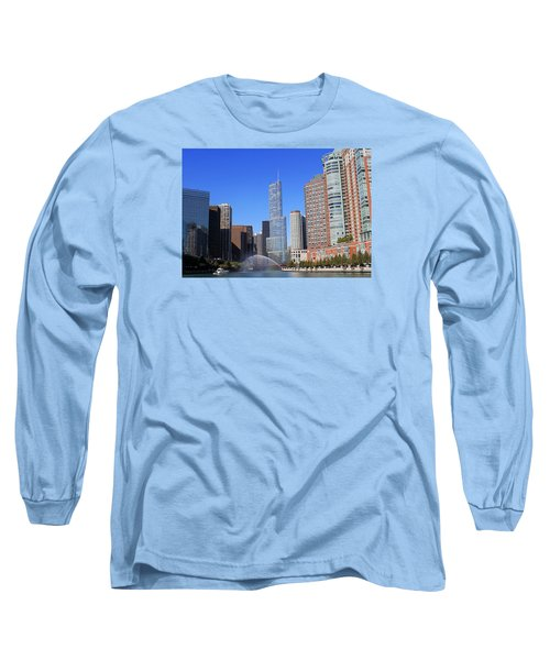Long Sleeve T-Shirt featuring the photograph Chicago River by Milena Ilieva