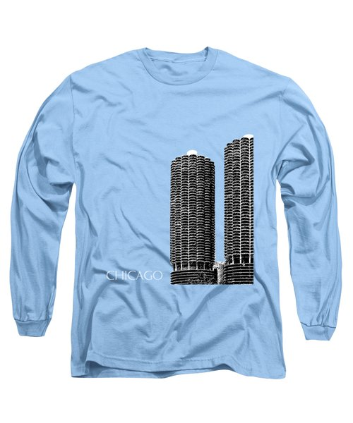 Chicago Skyline Marina Towers - Teal Long Sleeve T-Shirt