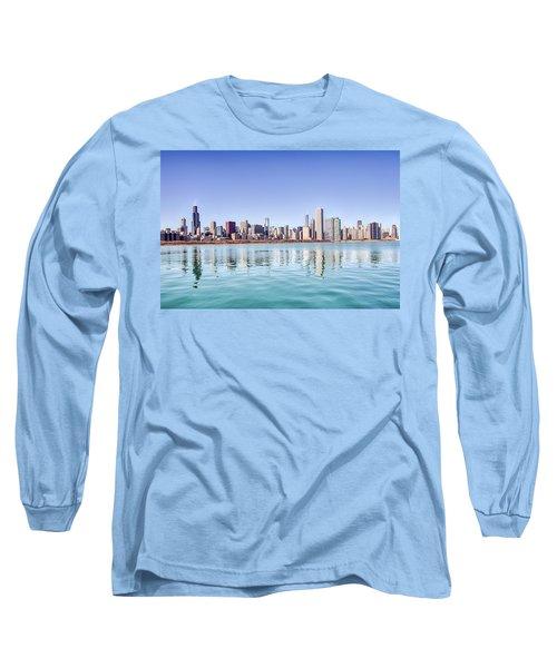 Chicago Skyline Reflecting In Lake Michigan Long Sleeve T-Shirt by Peter Ciro