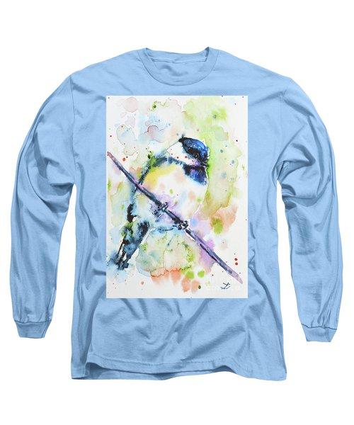 Long Sleeve T-Shirt featuring the painting Chick-a-dee-dee-dee by Zaira Dzhaubaeva