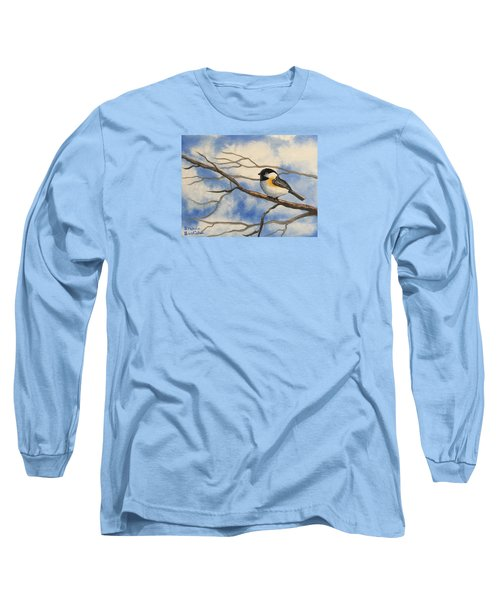 Chickadee On Branch Long Sleeve T-Shirt by Brenda Bonfield